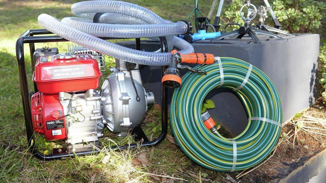 Outdoor bushfire sprinkler system.
