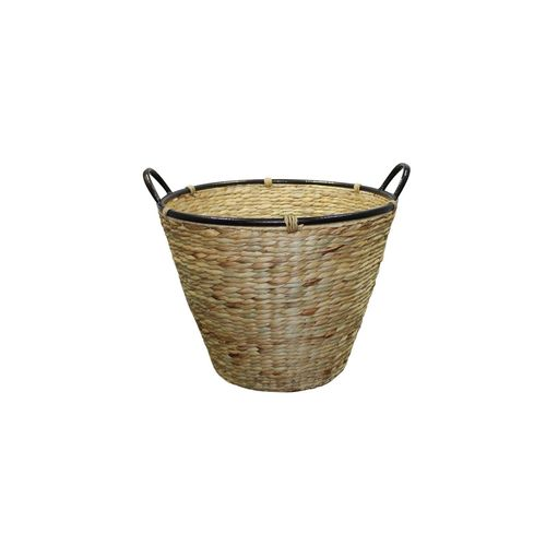 Wood Basket Conical Large With Iron Handles