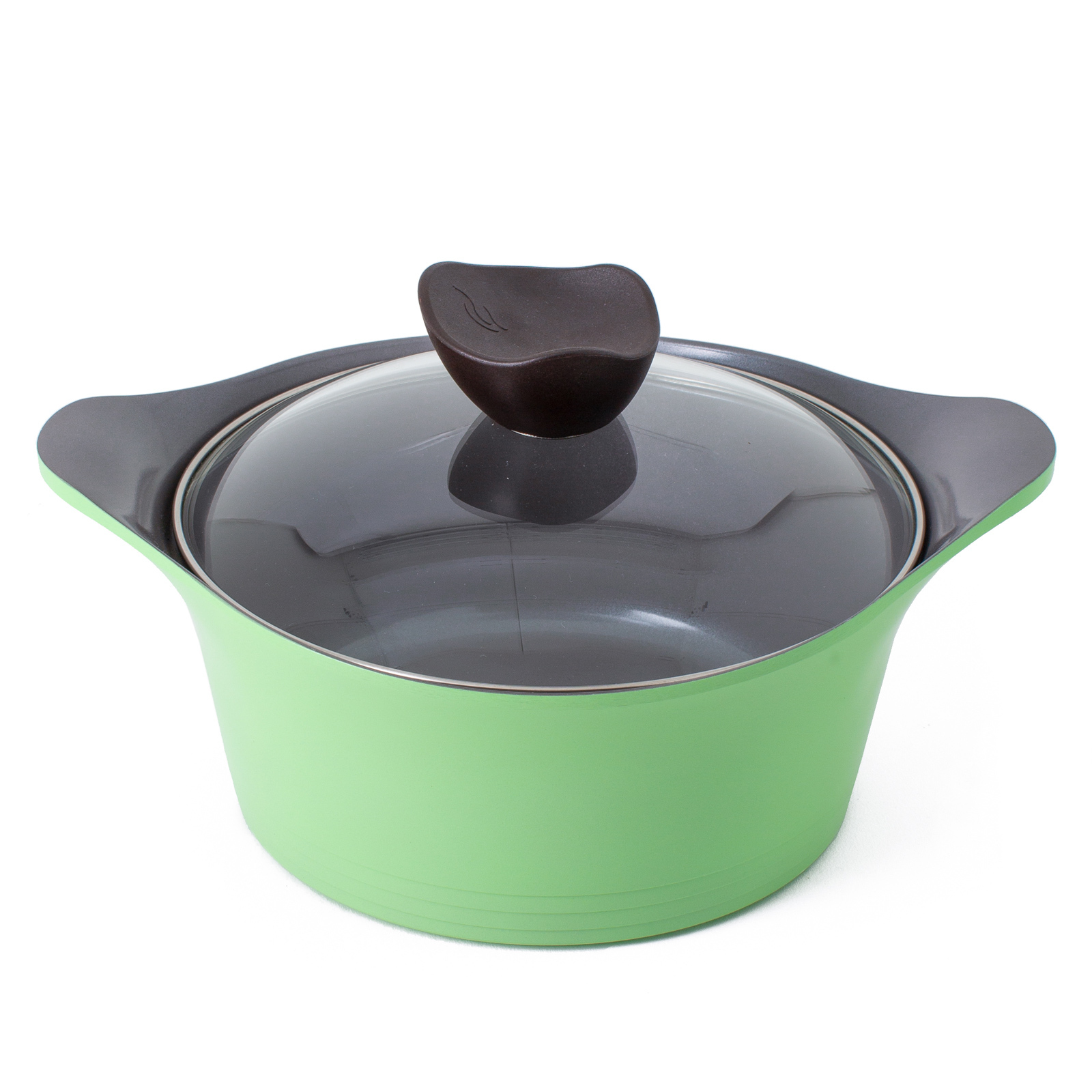 Neoflam Nature+ 20cm Casserole 2.3L Apple Green Induction with Glass Lid
