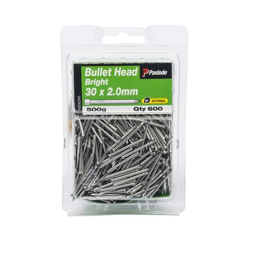 Paslode 30 x 2.0mm 500g Bright Steel Bullet Head Nails - 600 Pack