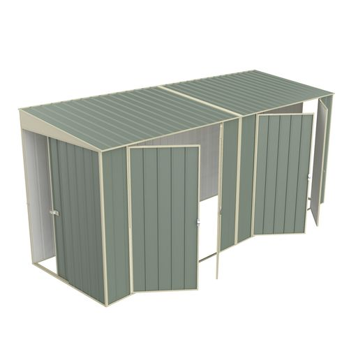 Build-a-Shed 1.5 x 4.5 x 2.0m Tunnel Shed Tunnel Sliding Door Plus Dual Double Hinged Side Door - Green