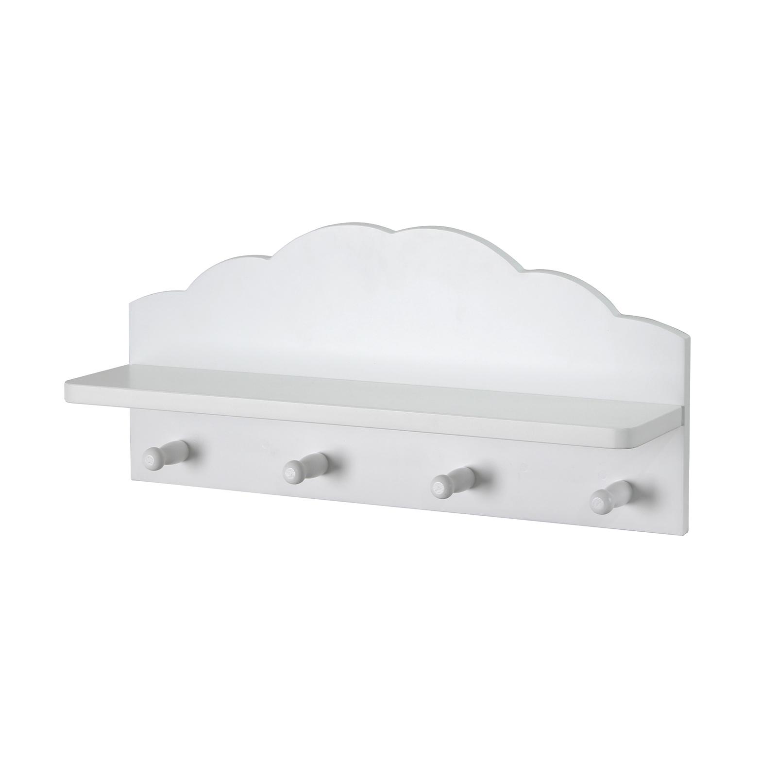 Flexi Storage Kids 400mm White Cloud Floating Shelf With Hooks