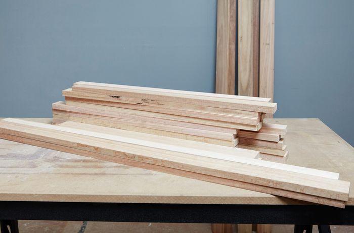 Timber slats on a workbench