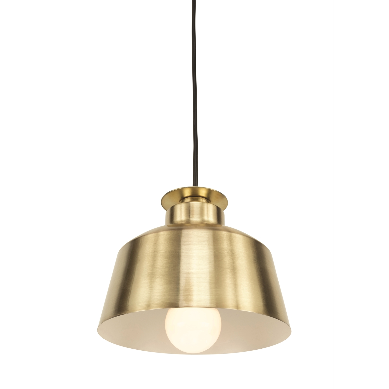 Brilliant 20cm Satin Brass Edie DIY Plug-In Lux Industrial Metal Pendant Light