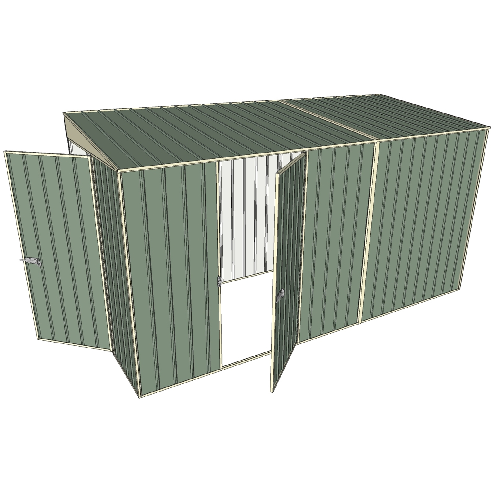 Build-a-Shed 1.5 x 3.7 x 2.0m  Tunnel Shed Tunnel Hinged Door +1 Hinged Side Door - Green