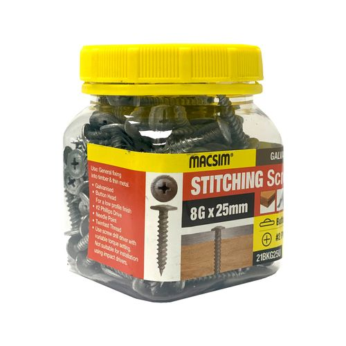 Macsim 8G x 25mm Stitch Button Screws Jar - 200 Pack