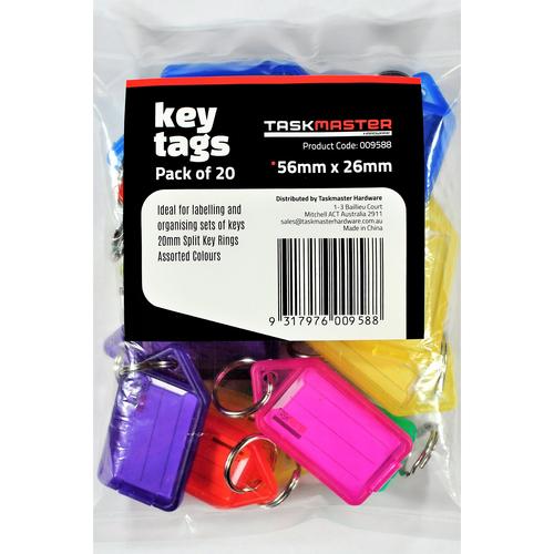Taskmaster 56 x 29 x 6mm Key Tag With Key Ring - 20 Pack