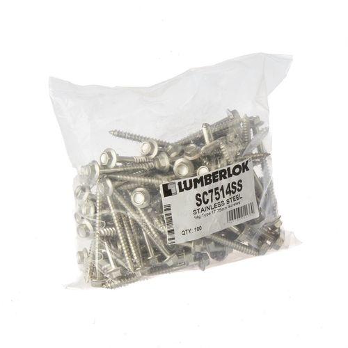 LUMBERLOK 17-14g x 75mm Stainless Steel Hex Head Type Screws - 100 Pack