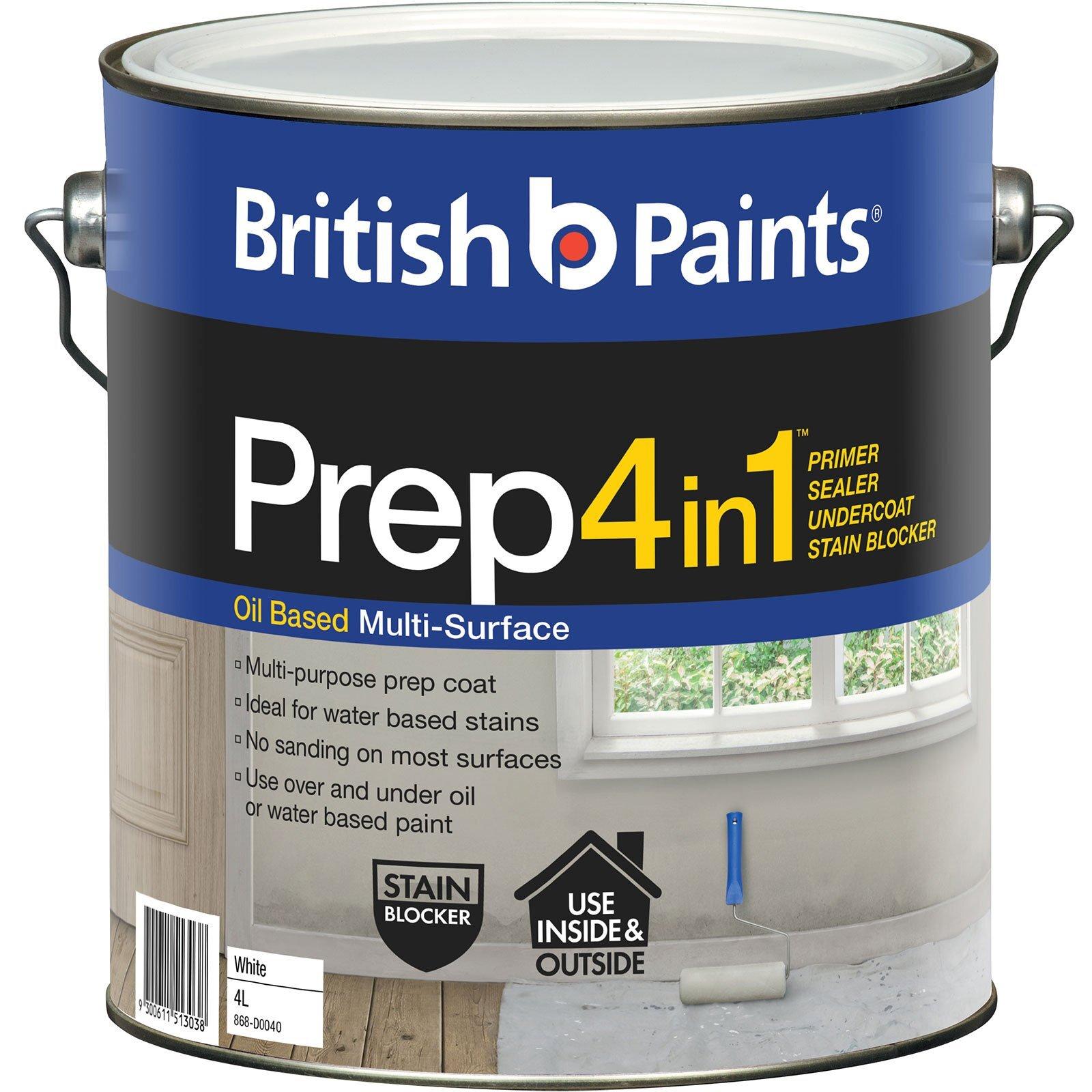 British Paints 4L Prep 4 In 1  White Oil-Based Primer Sealer Undercoat