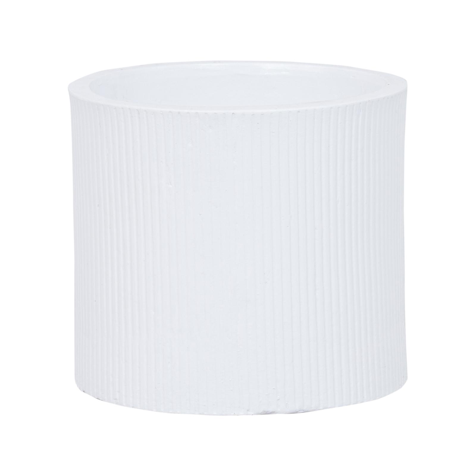 Lotus 23.5 x 21cm White Large Cylinder Linear Ceramic Pot