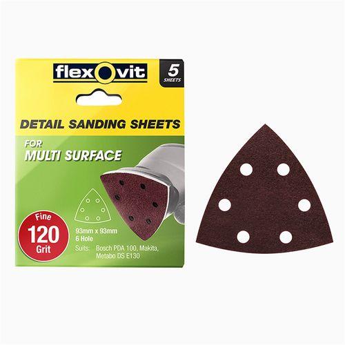 Flexovit 93x93mm All Surface Detail Sanding Sheet 120 Grit 6 Hole 5pk