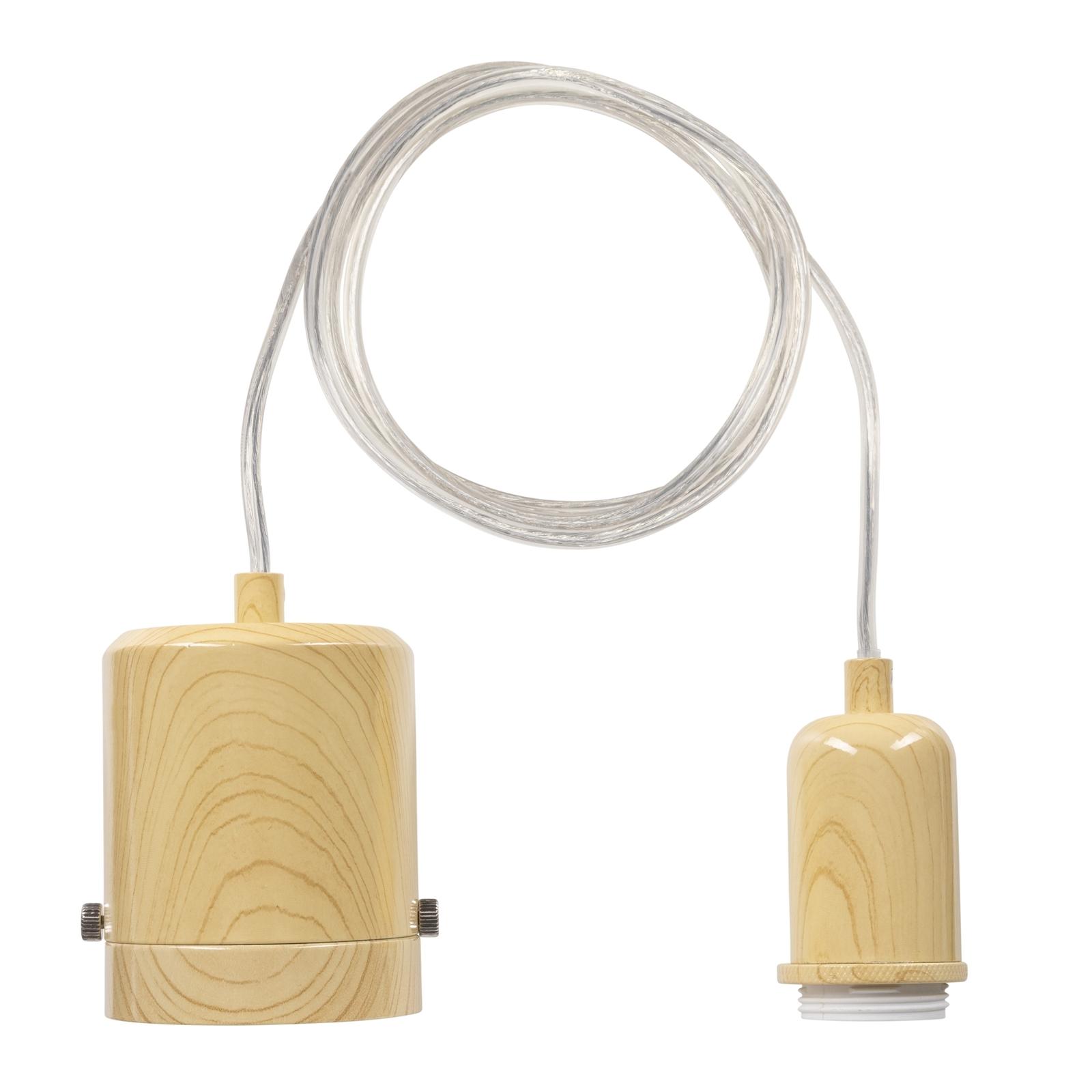 Brilliant Timber Look Maggie Plug-In DIY Shade Holding Suspension Pendant