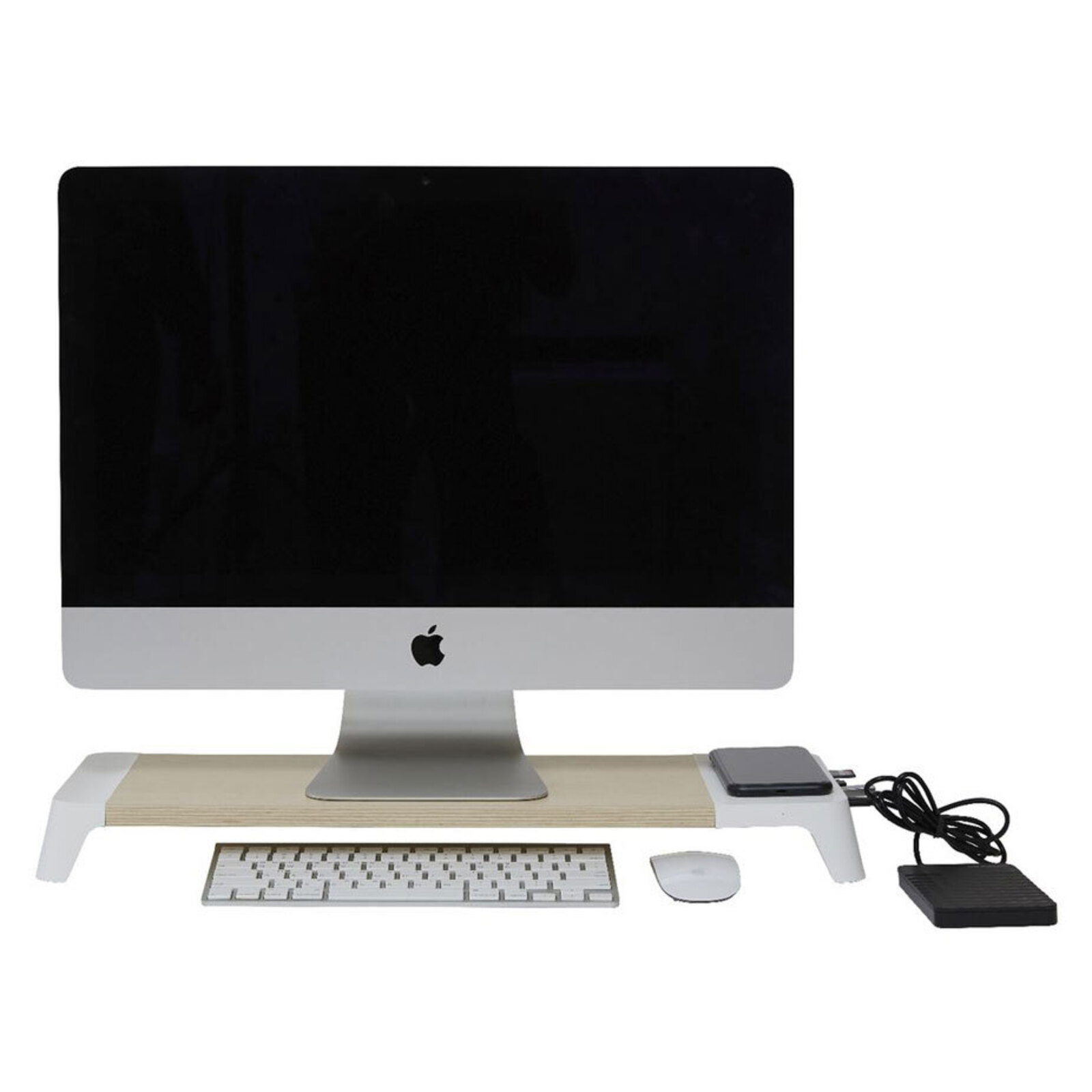 Pout Eyes 8 Monitor Stand/Riser 15W Wireless Charging/USB-A C Hub Station White