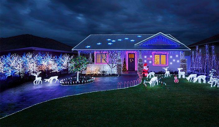 Christmas lights in front garden