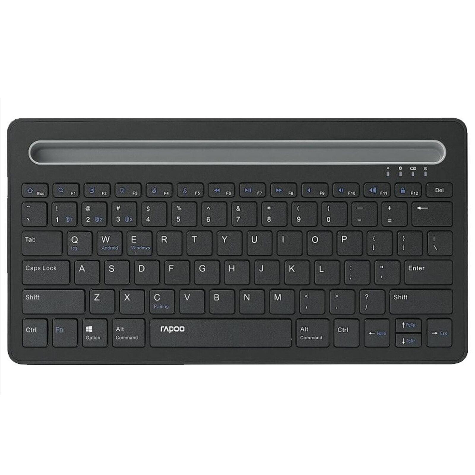 Rapoo XK100 Bluetooth Wireless Keyboard for PC/Computer iPad/Tablet Laptop Black
