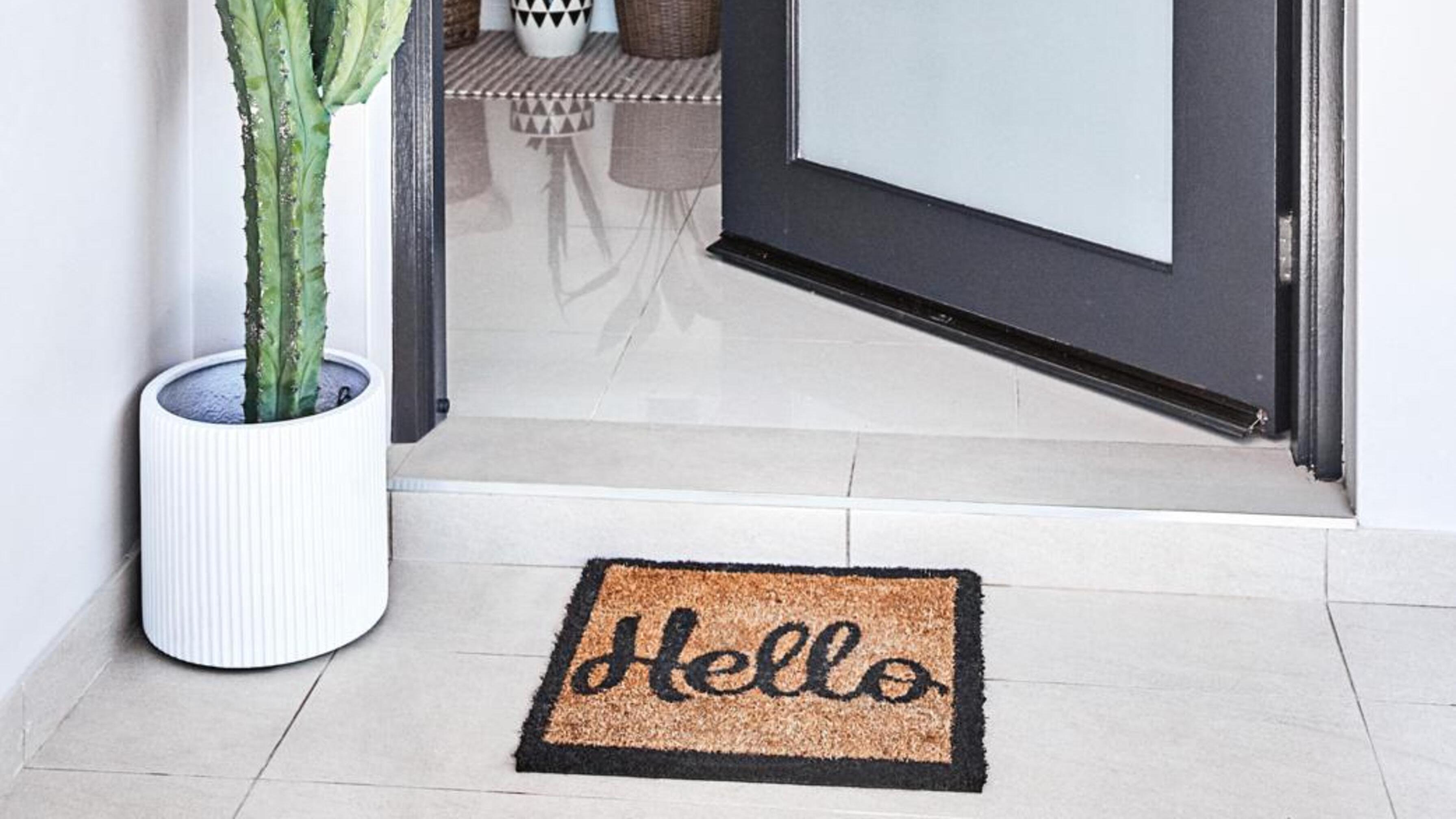 Open front door with cactus to the side and door mat in front.