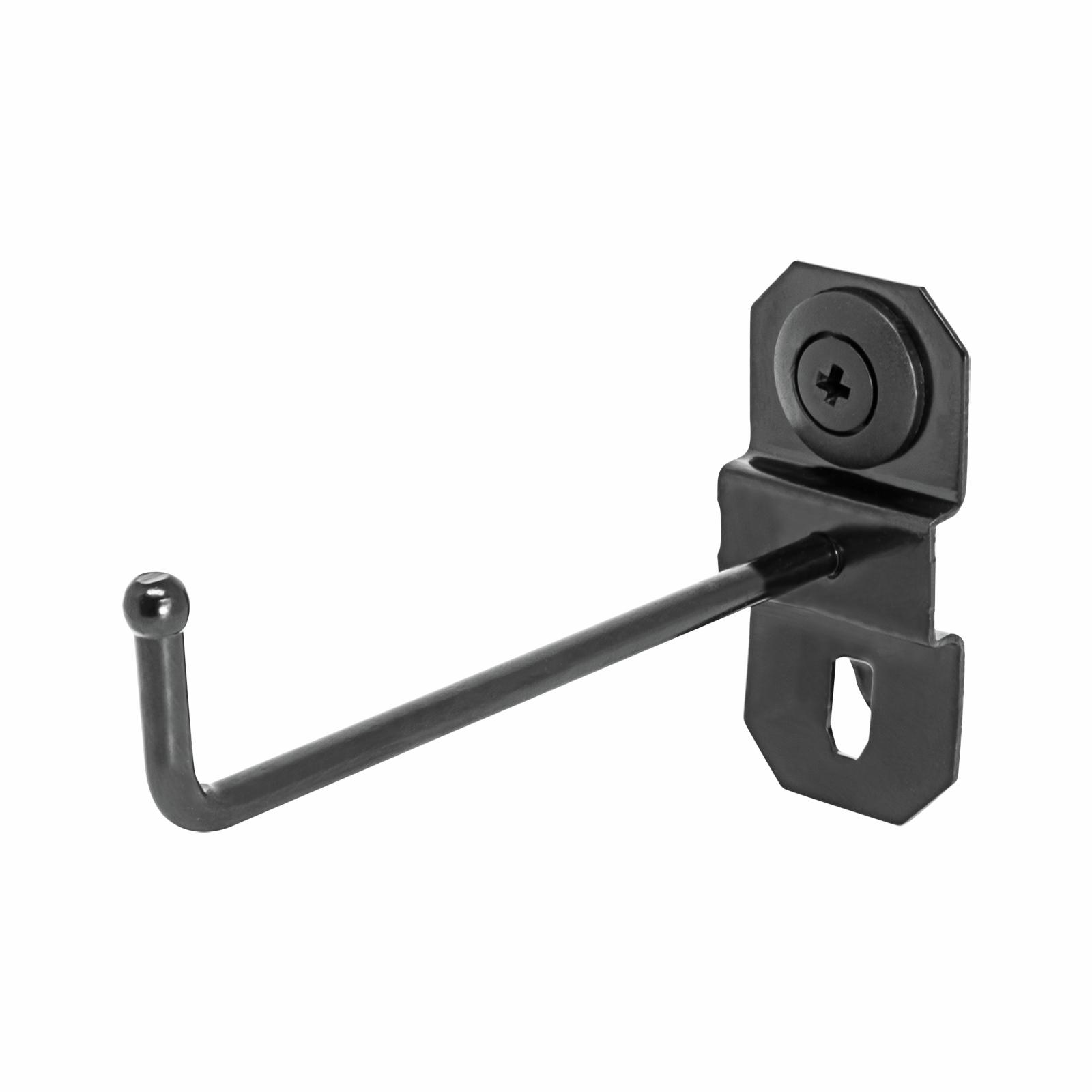 Pinnacle Gloss Black Heavy Duty Single Prong Pegboard Hook - 10 Pack