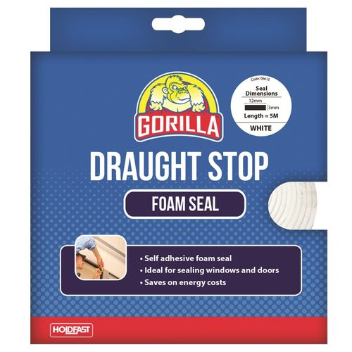 Gorilla 12mm x 3mm x 5m White Draughts Stop Foam