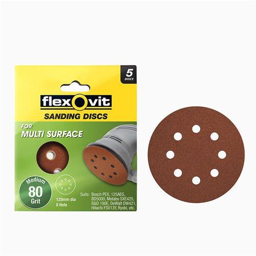 Flexovit 125mm 80 Grit 8 Hole All Surface Orbital Sanding Disc - 5 Pack