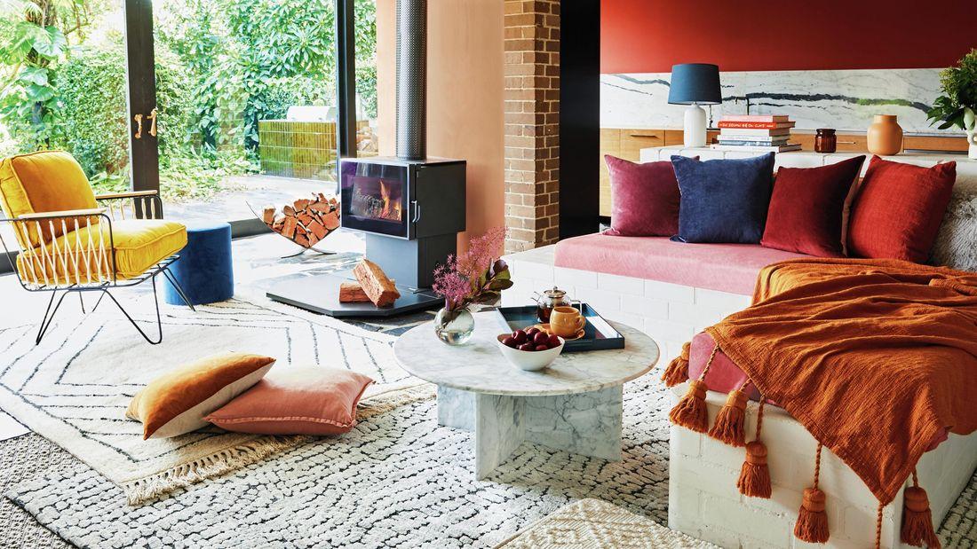 lounge room with warm tones