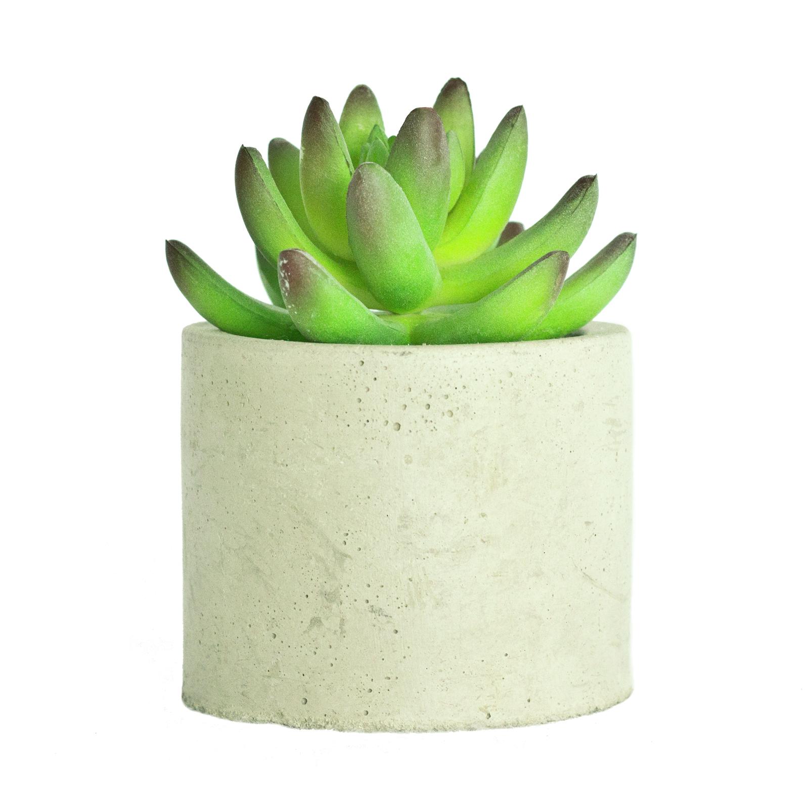 UN-REAL 13cm Artificial Succulent In Concrete Pot
