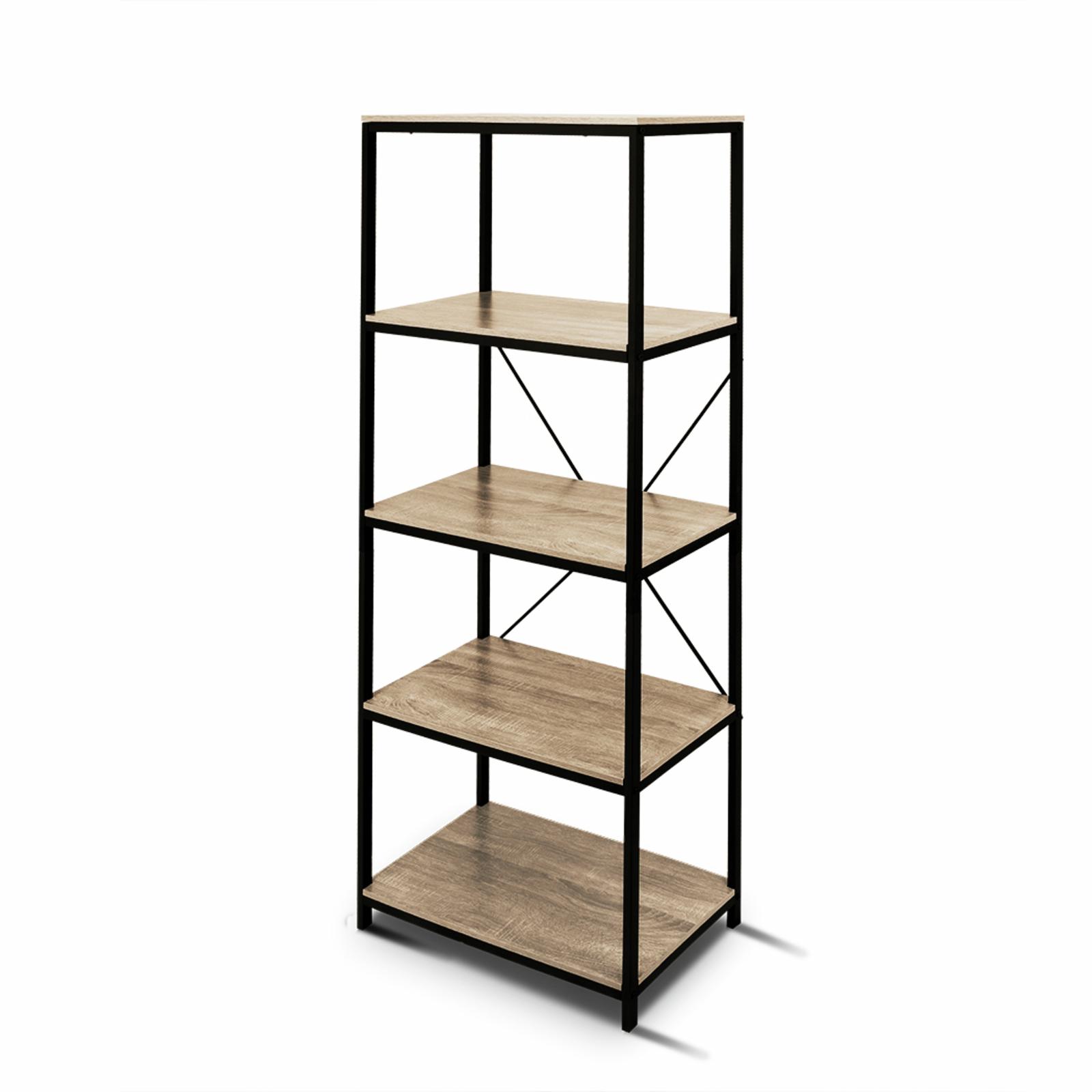 Rome Industrial Style 20 Tier Storage Bookshelf Oak