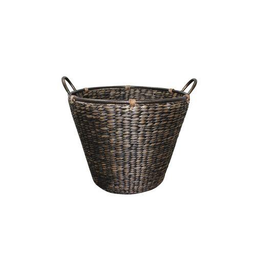 Fireside Large Iron Hand Dark Stain Wood Basket