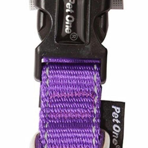 Reflective Adjustable Nylon Dog Collar - 35-50cm (20mm) - Purple (Pet One)