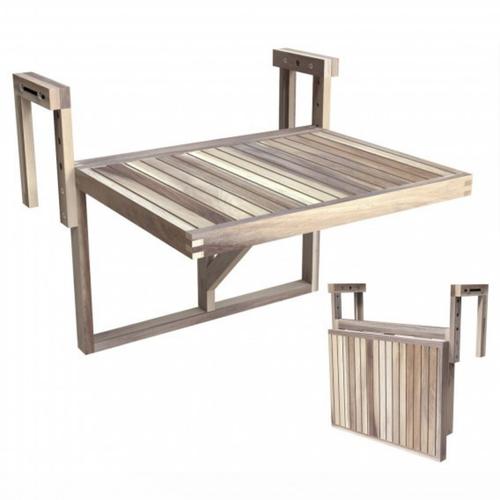 Interbuild 60 x 45 cm Organic White Stockholm Folding Balcony Table