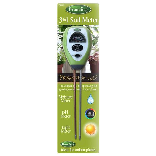 Brunnings 3 in 1 Soil Meter Moisture/pH/Light) 74004