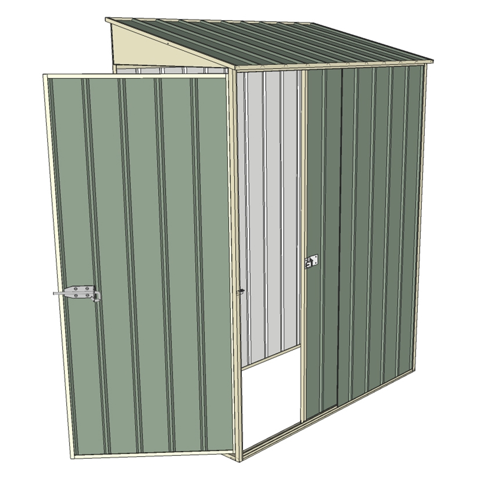 Build-a-Shed 1.5 x 0.8 x 2m Single Sliding Door Skillion Shed with Single Hinged Side Door - Green