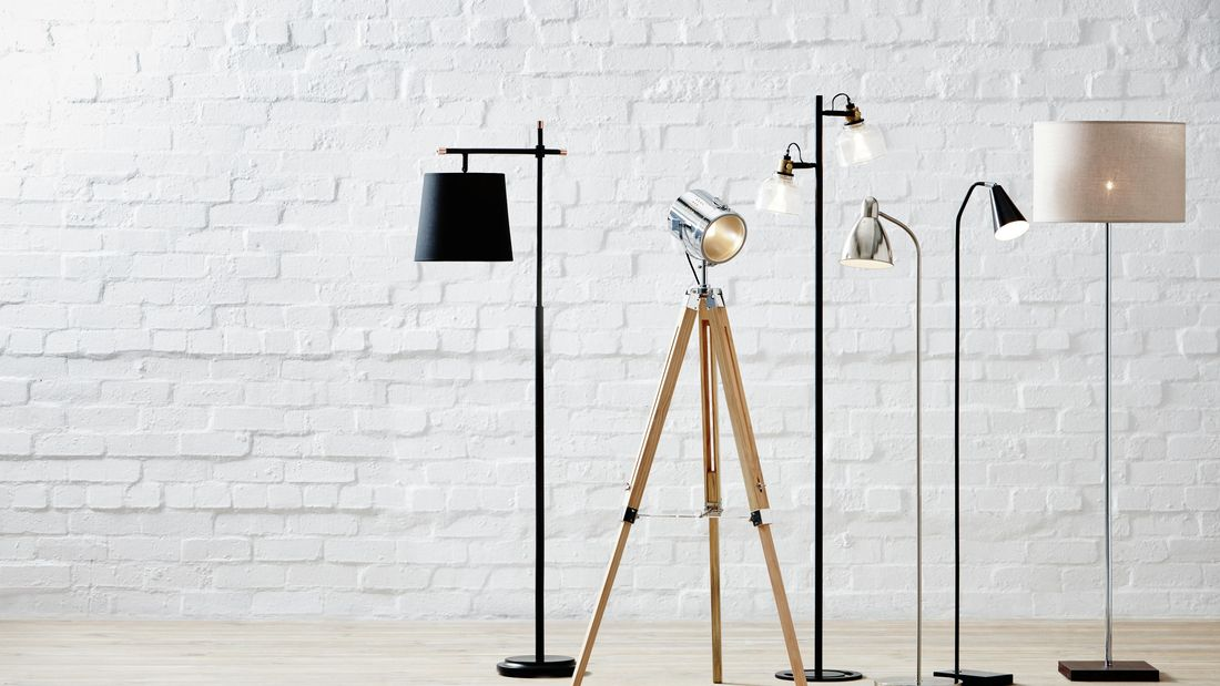 A selection of standing floor lights in different styles and colours.