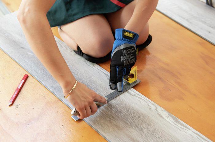 DIY Step Image - How to lay vinyl plank flooring . Blob storage upload.