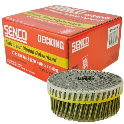 Senco 50 x 2.5mm Collated Coil Nail Dome Head Ring Shank - 400 Pack