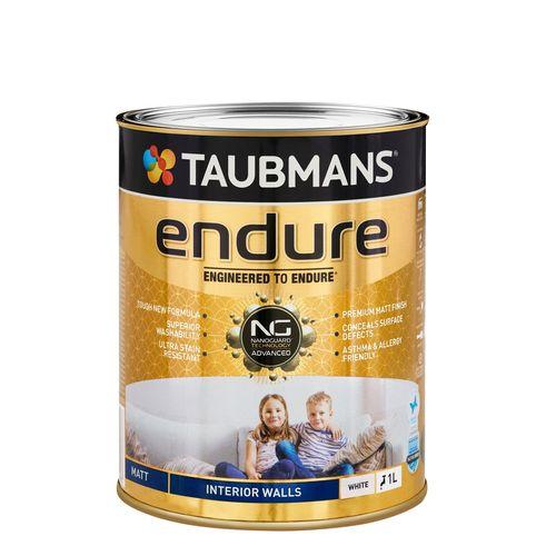 Taubmans Endure Matt White Interior Wall Paint - 1L