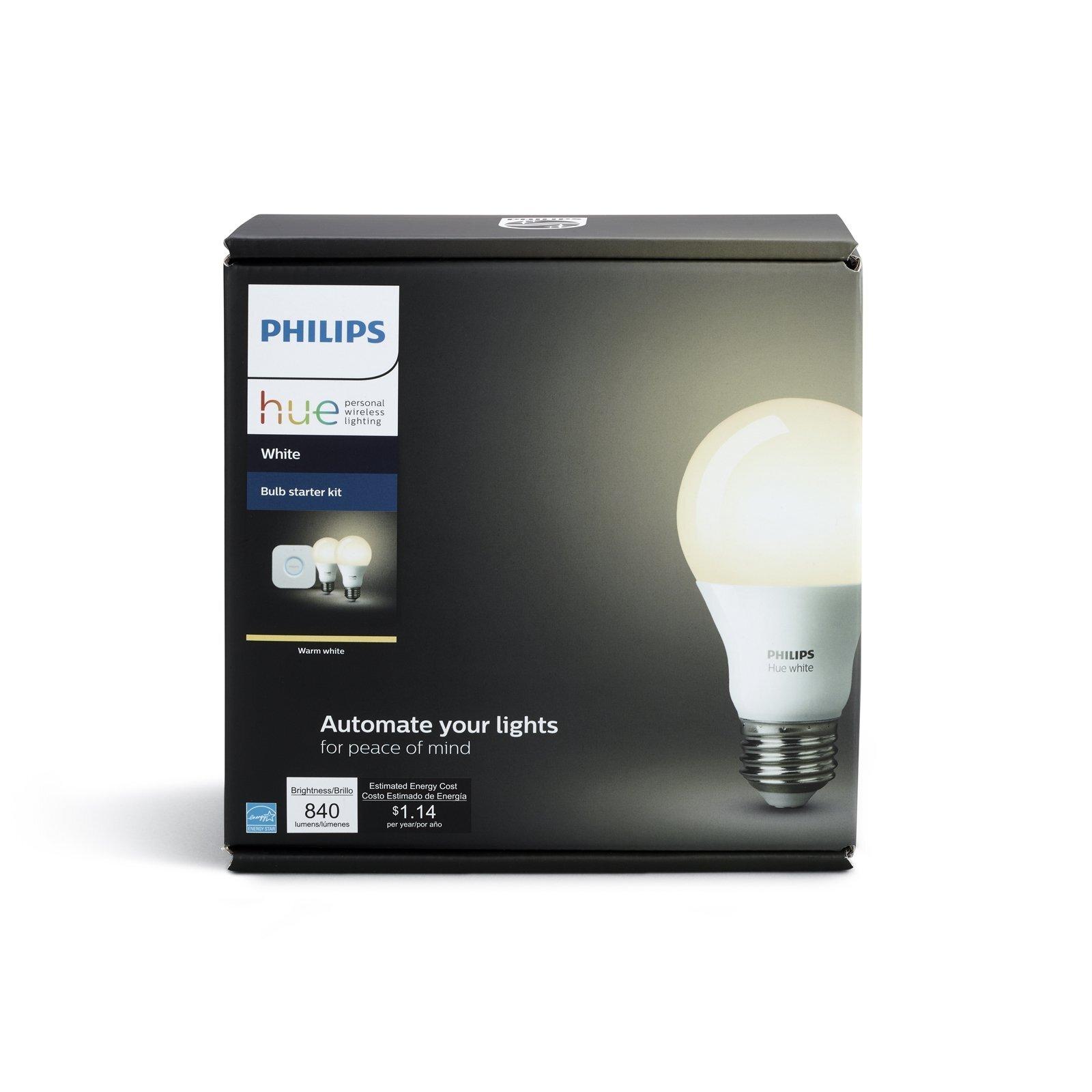 Philips Hue 2 White E27 Bulbs And Bridge Starter Kit