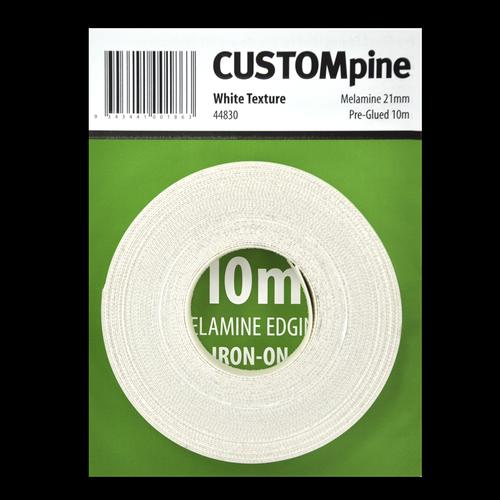 CustomPine 21mm x 10m White Iron-On Melamine Edging