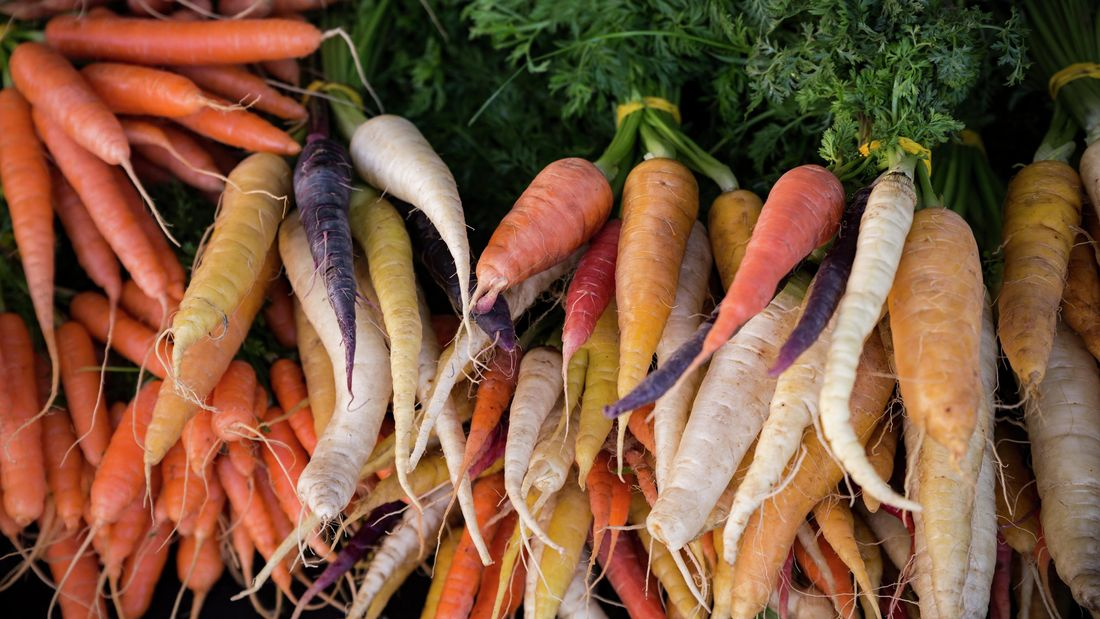 Pile of carrots in assorted colours.