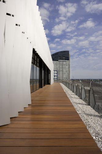 Timber decking surrounding building