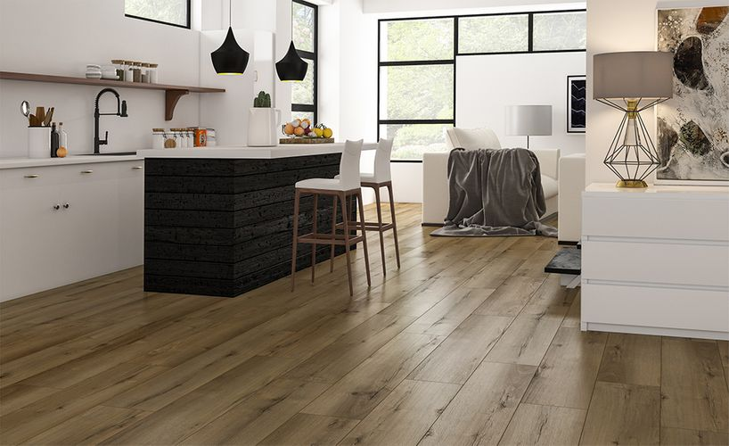 Kitchen with timber-look flooring