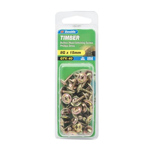 Zenith 8G x 15mm Gold Passivated Button Head Timber Stitching Screws - 40 Pack