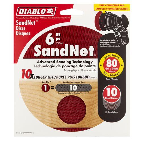 Diablo 150mm 80 Grit Orbital SandNet Discs - 10 Pack