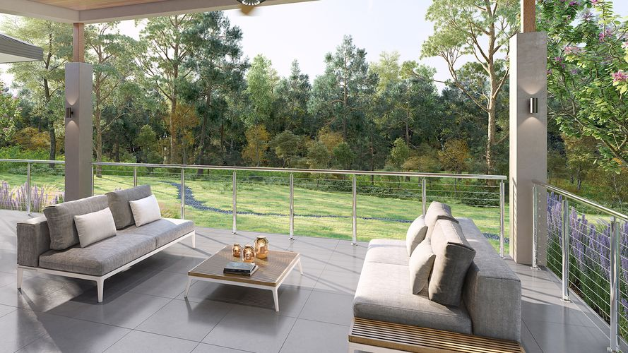 An outdoor lounge area overlooking parkland