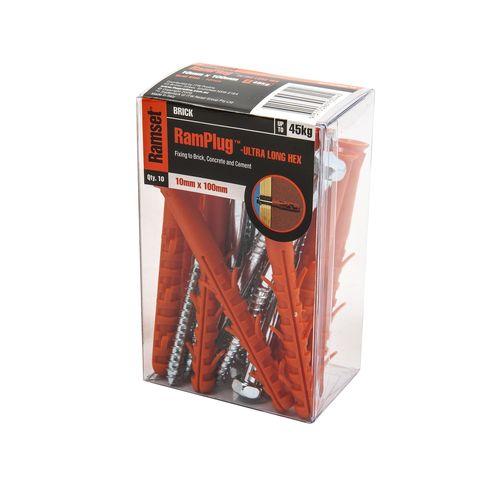 Ramset 10 x 100mm Ultra-Long Hex Anchor RamPlug - 10 Pack
