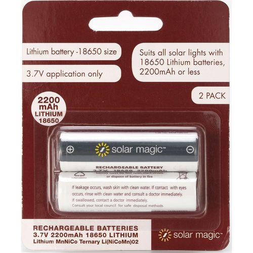 Solar Magic 2200mAh Lithium Ion Rechargeable Batteries - 2 Pack