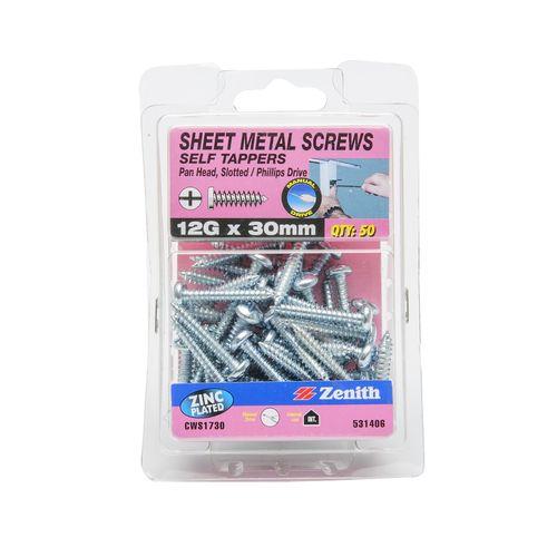 Zenith 12g x 30mm Zinc Plated Pan Head Sheet Metal Screws - 50 Pack