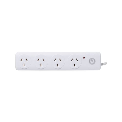 Click White 4 Outlet Surge Protection Powerboard