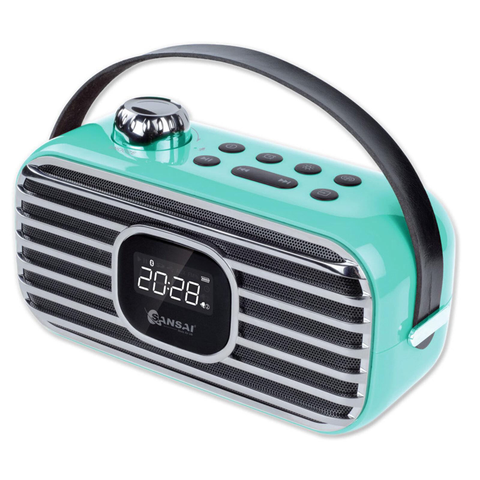 Sansai Portable Wireless Bluetooth Speaker w/ FM Radio/LED Alarm Clock BL