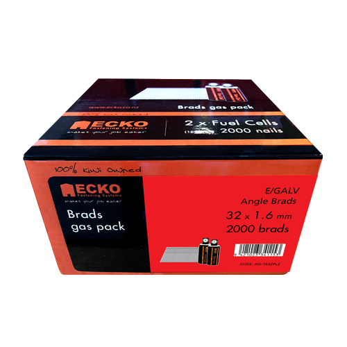 ECKO 32 x 1.6mm Galvanised Angle Brads Gas Pack - 2000 Pack