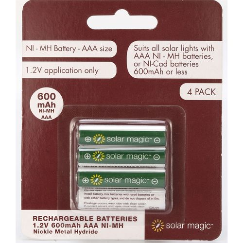 Solar Magic AAA 600mAh Ni-Mh Rechargeable Batteries - 4 Pack